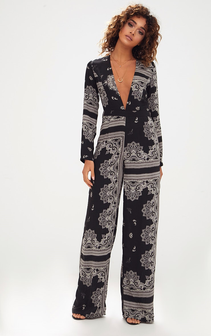 Black Scarf Print Long Sleeve Plunge Jumpsuit 1