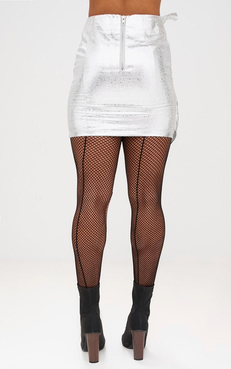 Silver Metallic Crack Vinyl Frill Panel Mini Skirt 4