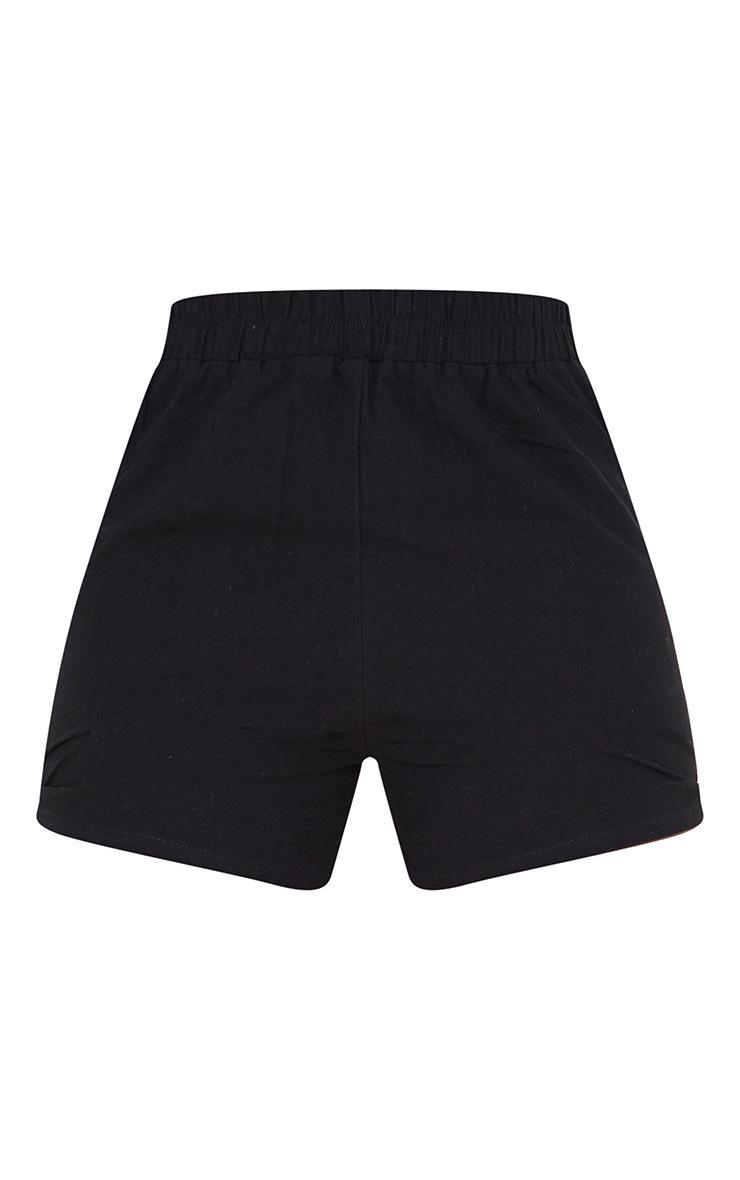 Tall Black Linen Feel Runner Shorts 6