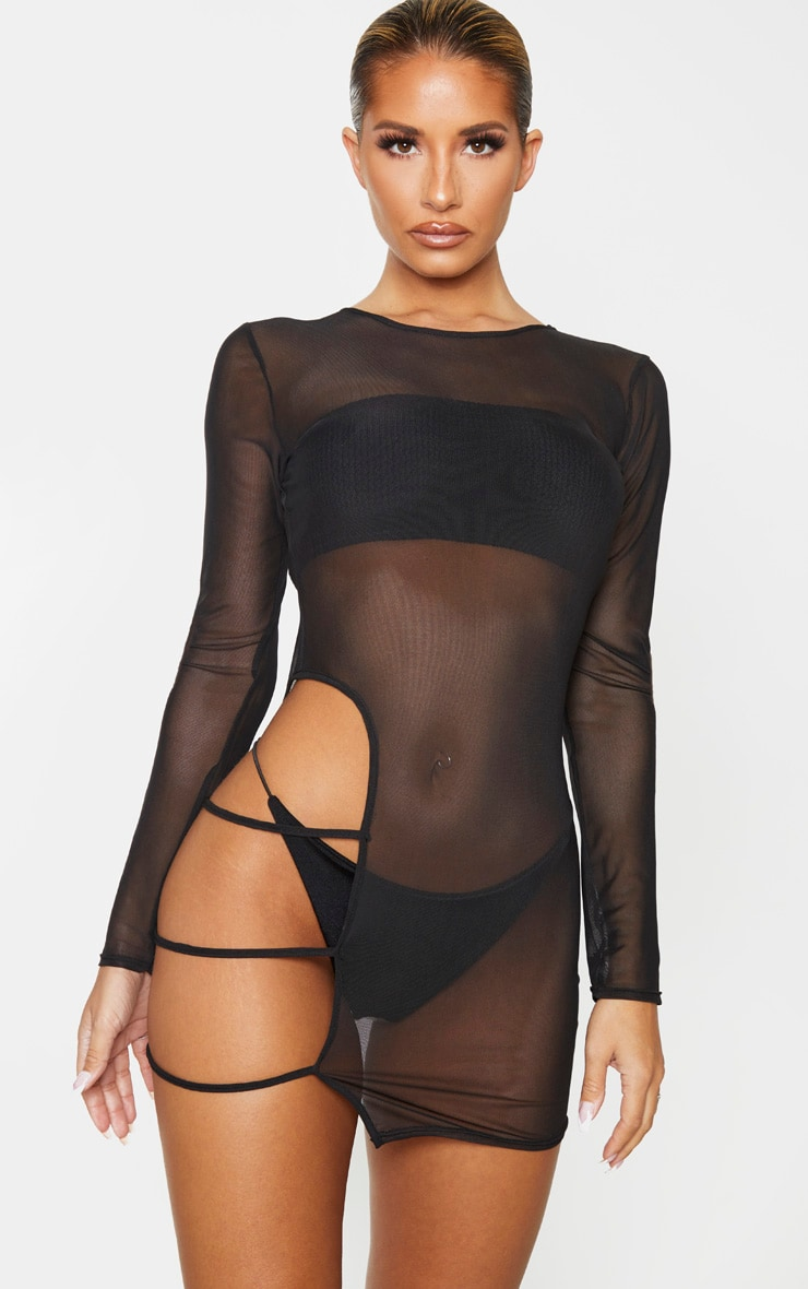 Black Cut Out Thigh Mesh Beach Dress 1