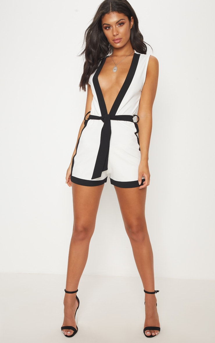 White Contrast Binding Playsuit 4