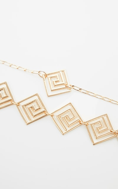 Gold Greek Key Choker And Necklace