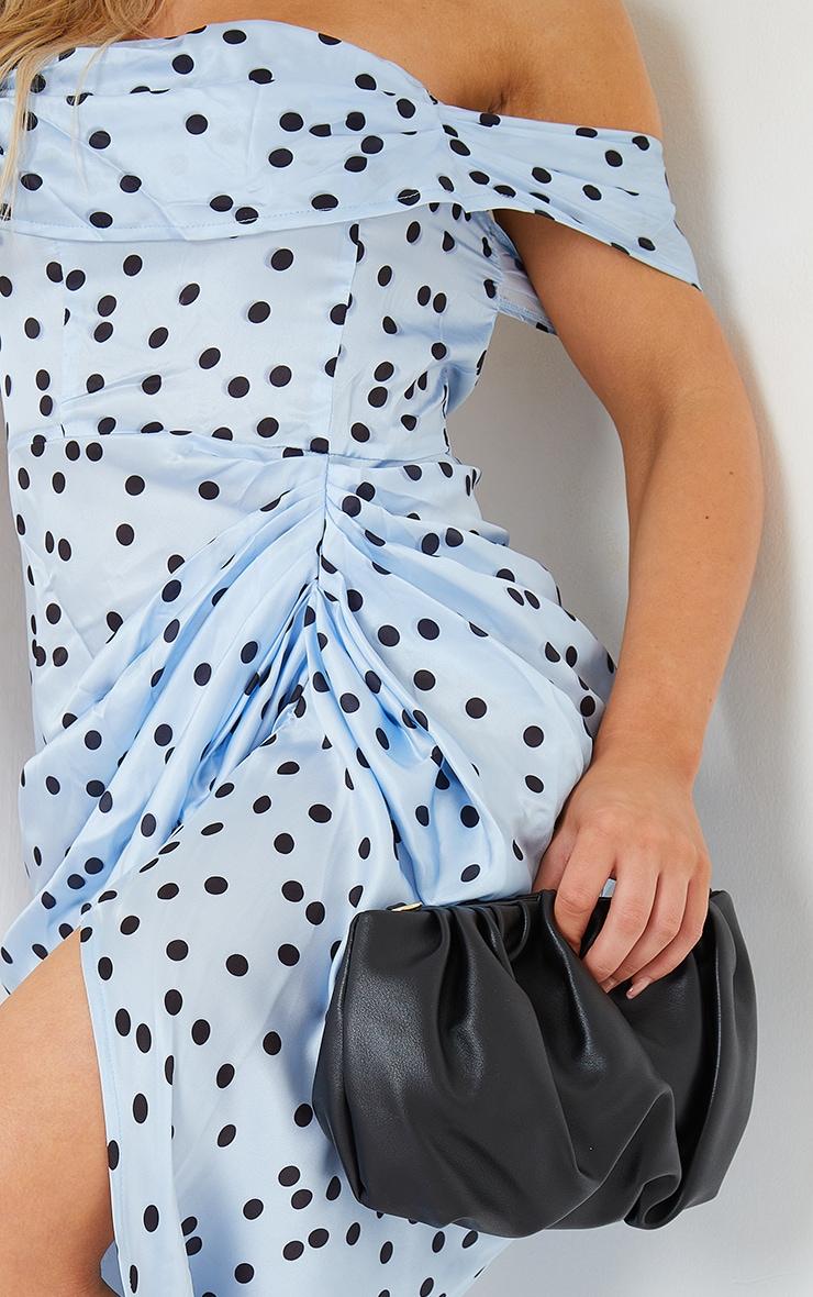Blue Polka Dot Satin Draped Bardot Midi Dress 4