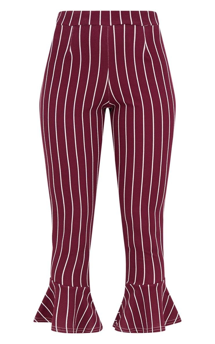 Burgundy Pinstripe Flare Hem Trousers 3