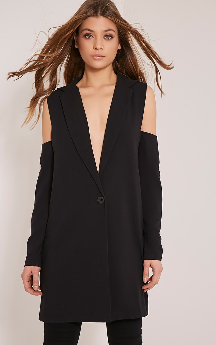 Ora Black Cold Shoulder Blazer 1