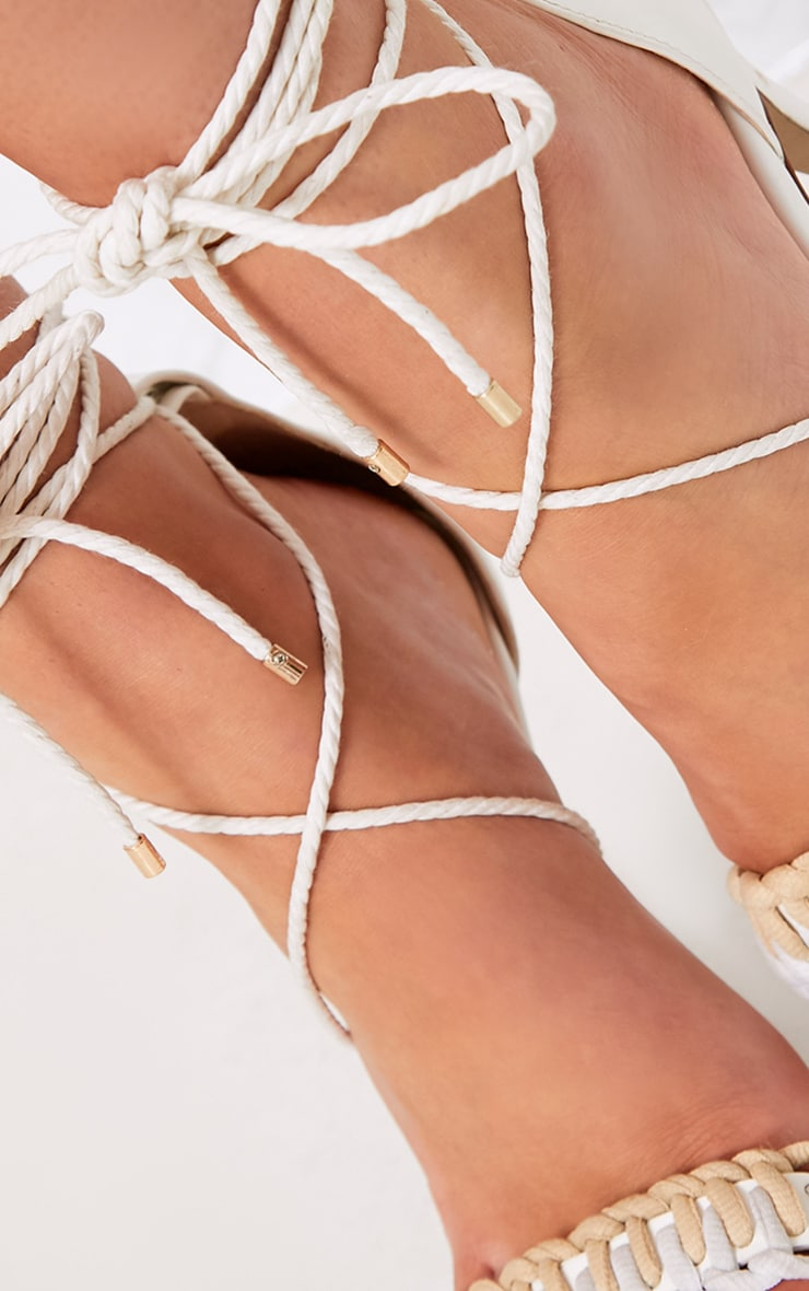 Enya White Contrast Piping Lace Up Heels  5