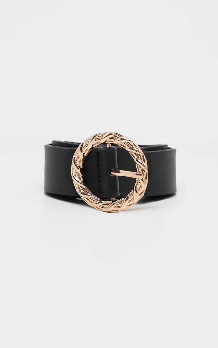 Black Thin Waist Belt With Gold Circular Buckle 2