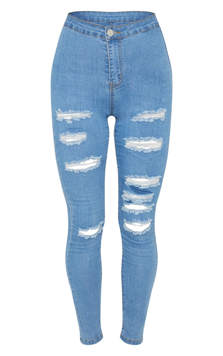 Light Wash Extreme Rip Disco Fit Skinny Jean 3