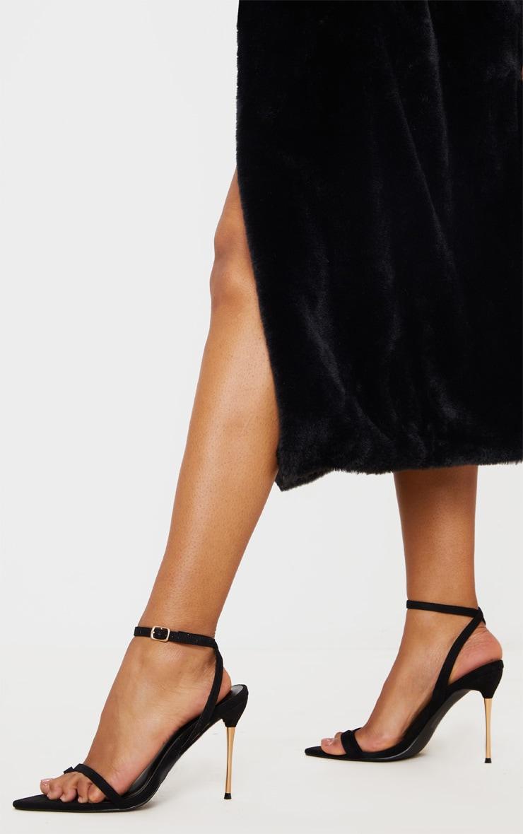 Black Pin Heel Toe Loop Ankle Strap Point Sandal 1