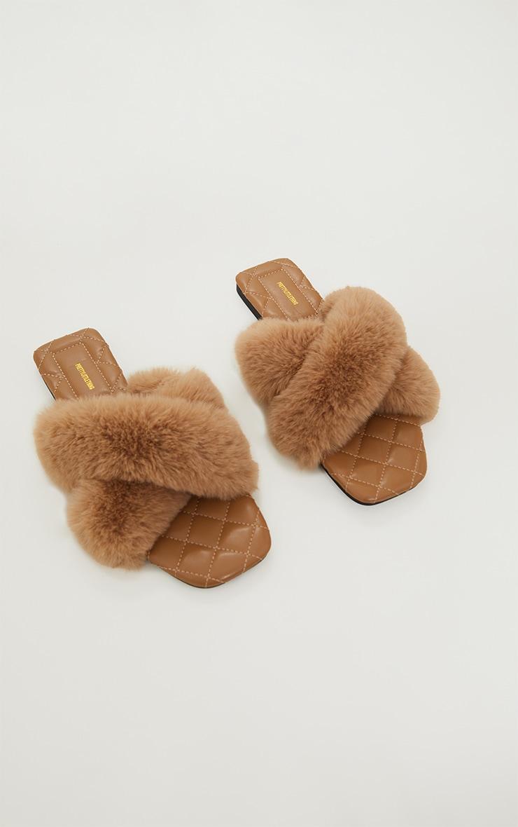 Tan Faux Fur Cross Strap Square Toe Sandals 3
