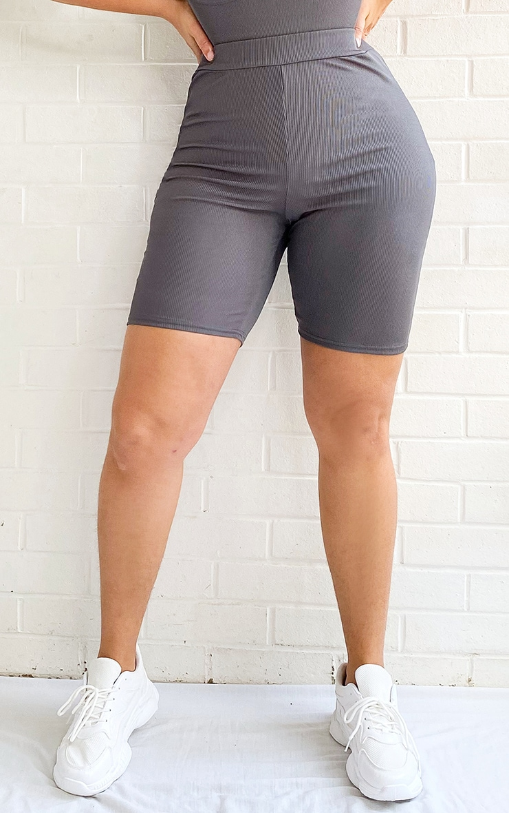 Plus Charcoal Rib High Waist Bike Shorts 2