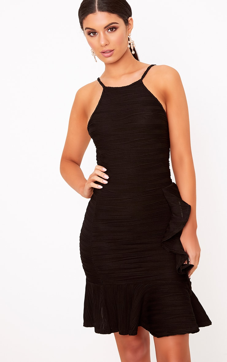 Black Pleated Ruffle Detail Bodycon Dress 1