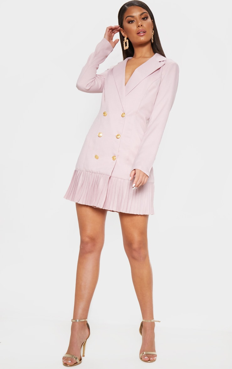 Dusty Pink Pleated Hem Button Detail Blazer Dress 1