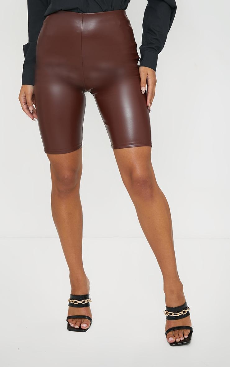 Chocolate Faux Leather Bike Shorts 2
