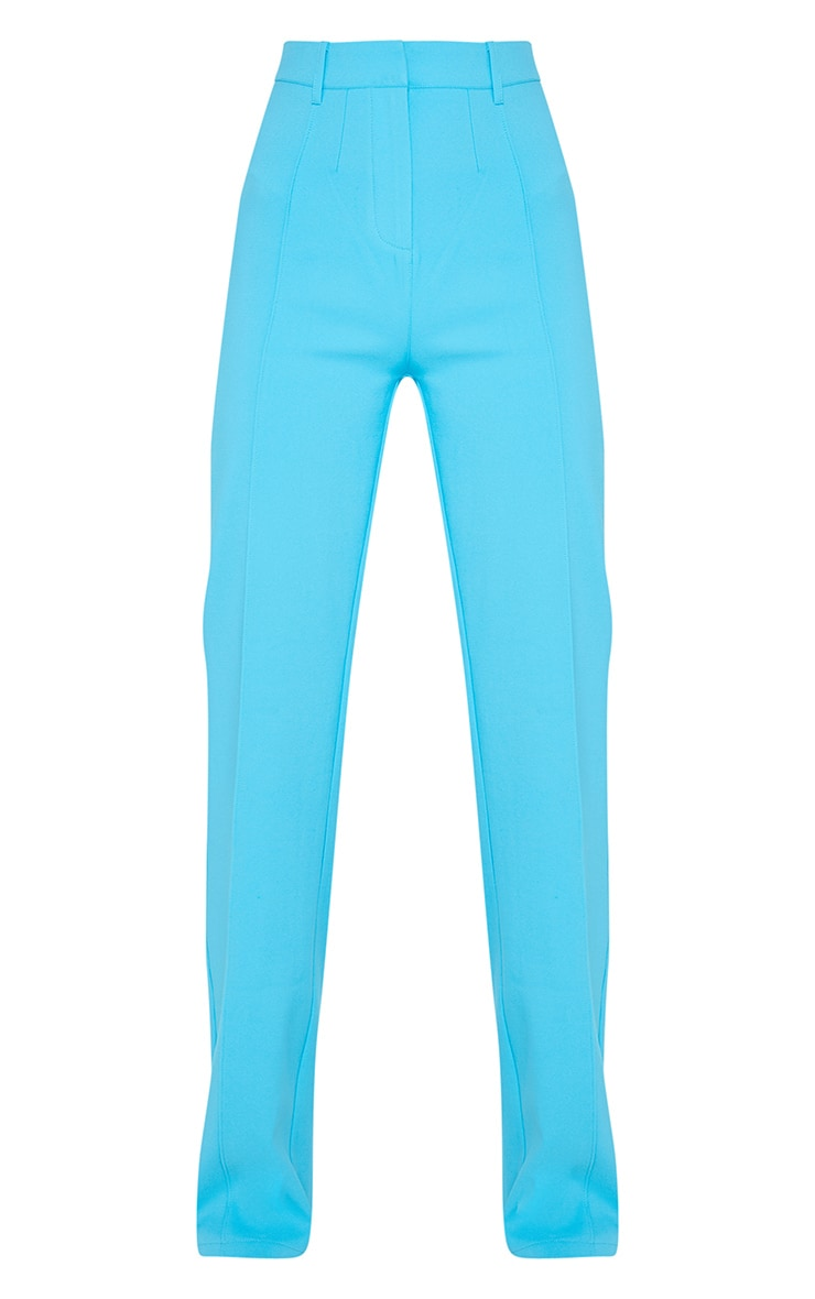 Bright Blue High Waisted Straight Leg Trouser 3