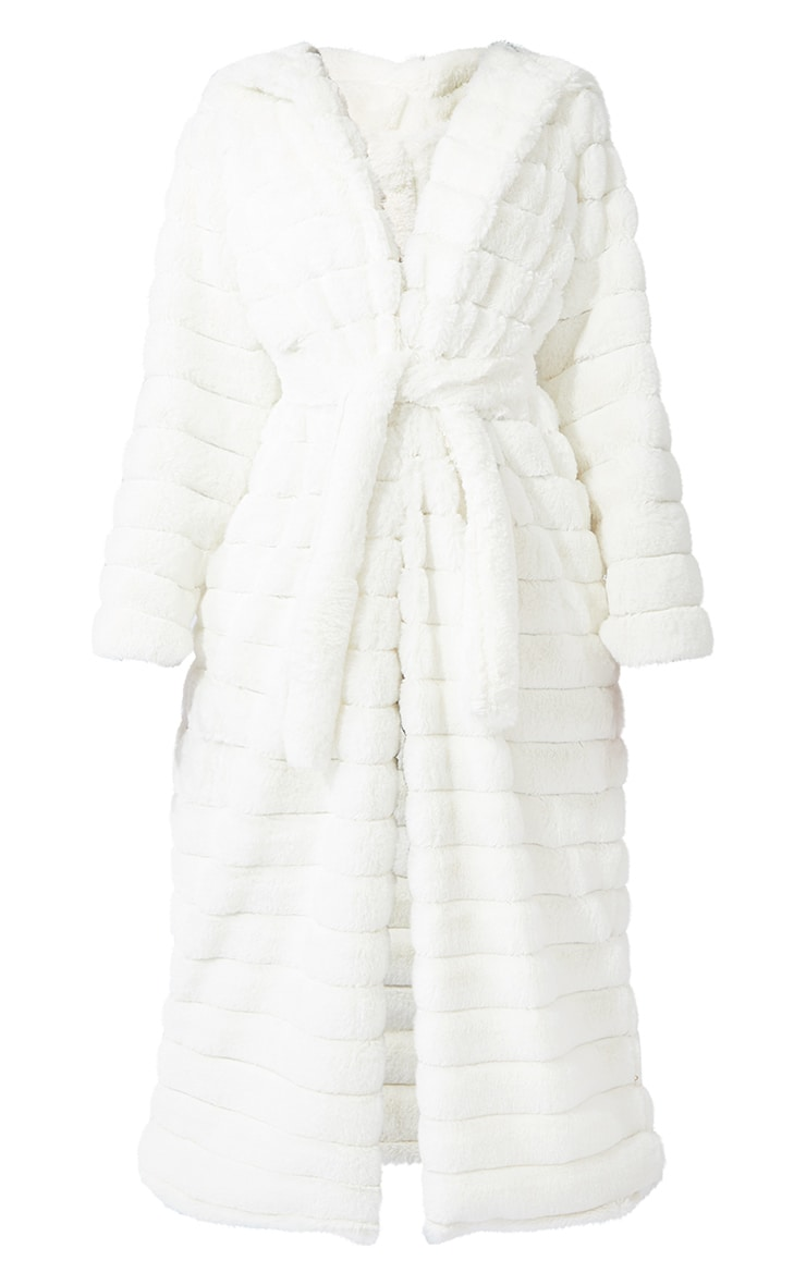Tall Cream Maxi Bubble Faux Fur Coat 5