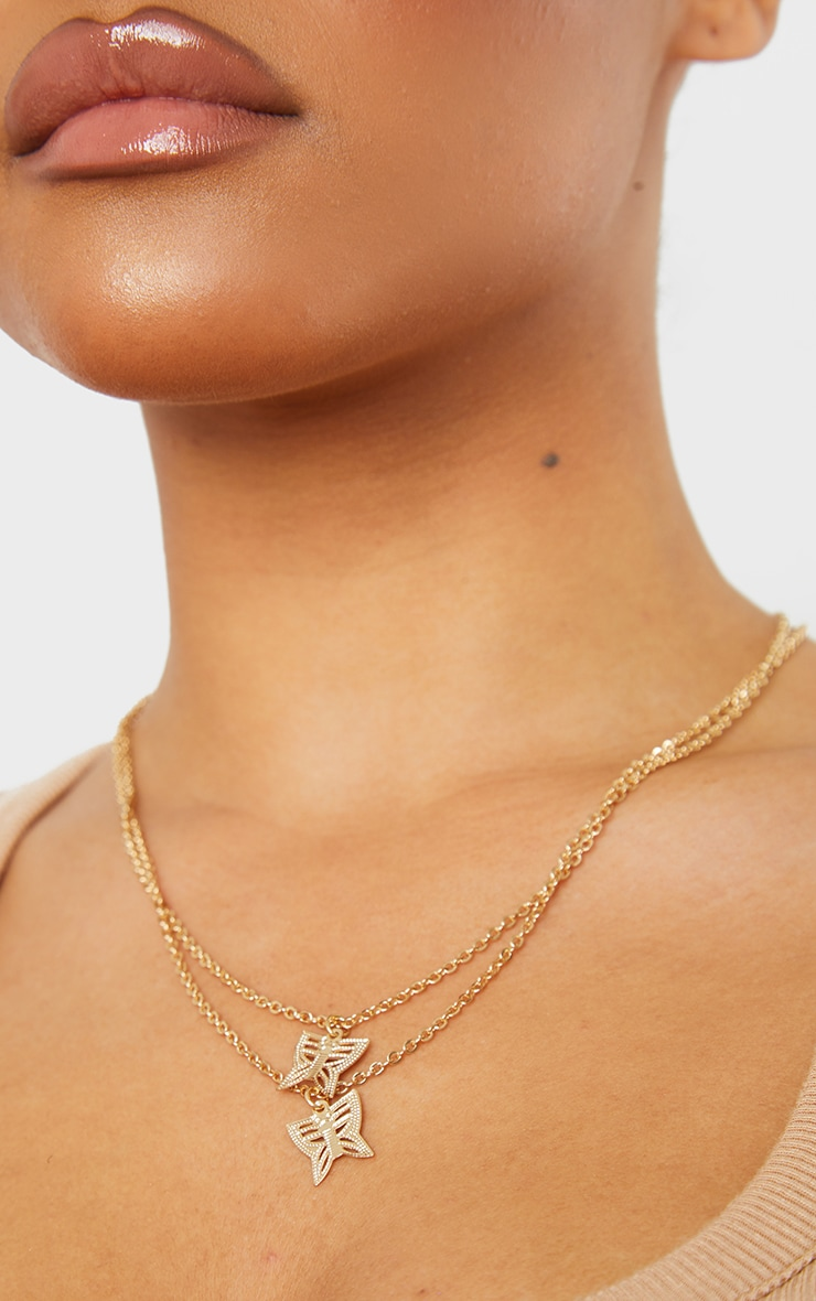 Gold Double Layer Dainty Butterfly Necklace 2