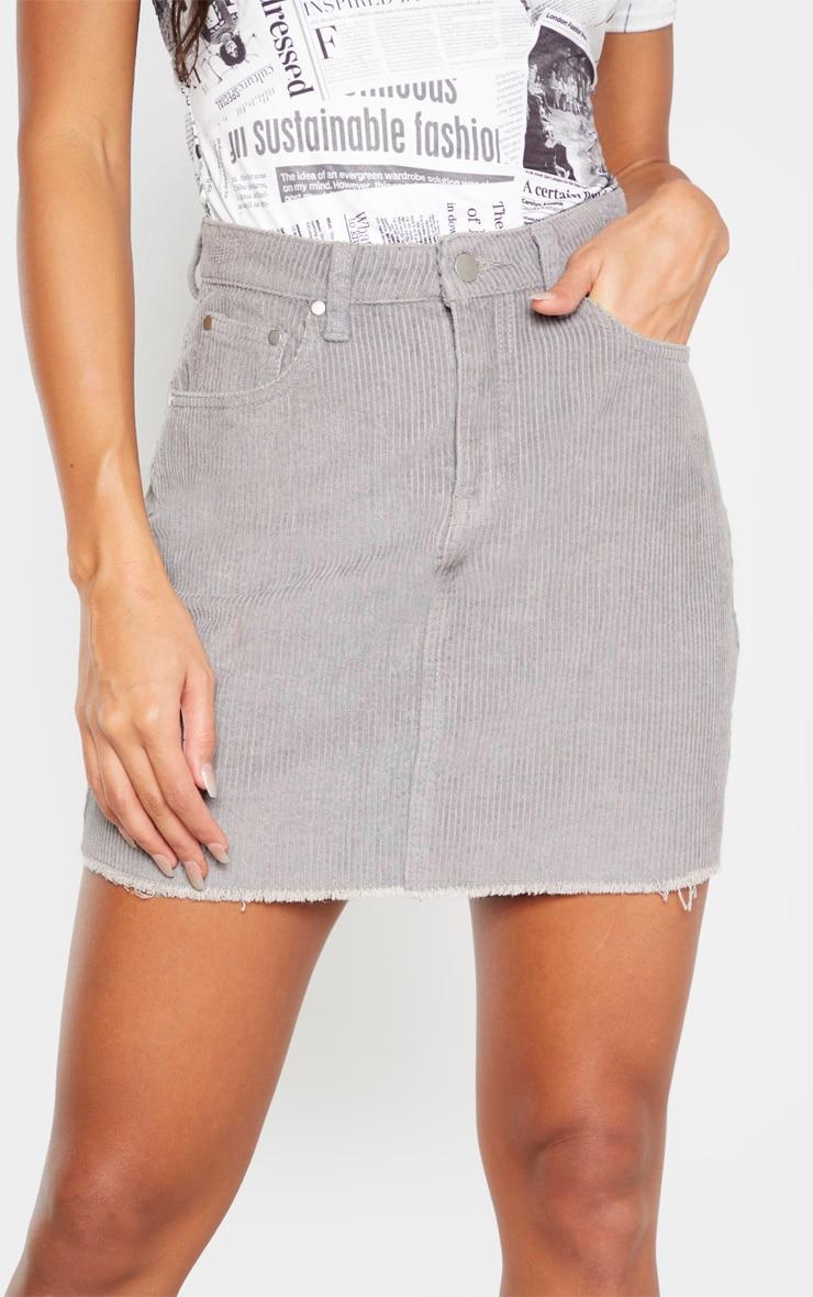 Light Grey Cord Mini Skirt 5