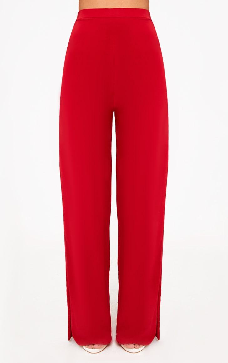 Red Side Split Slinky Trousers  2