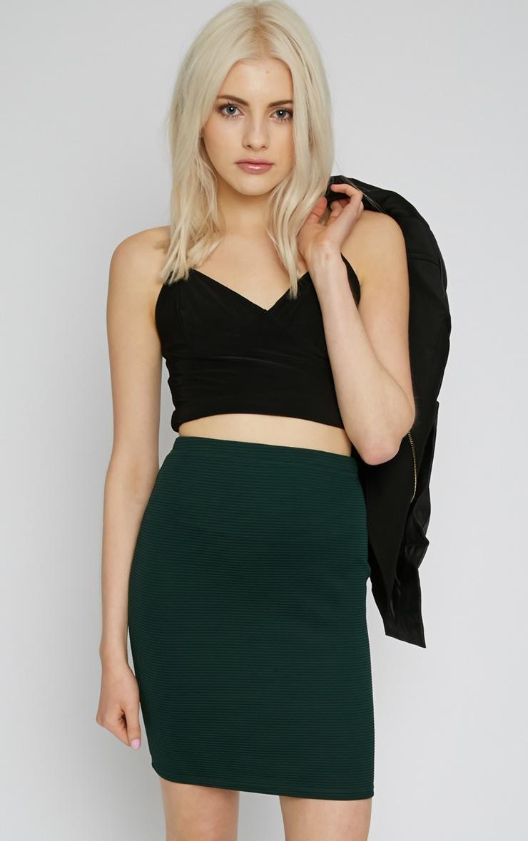Christy Green Ribbed Mini Skirt  1
