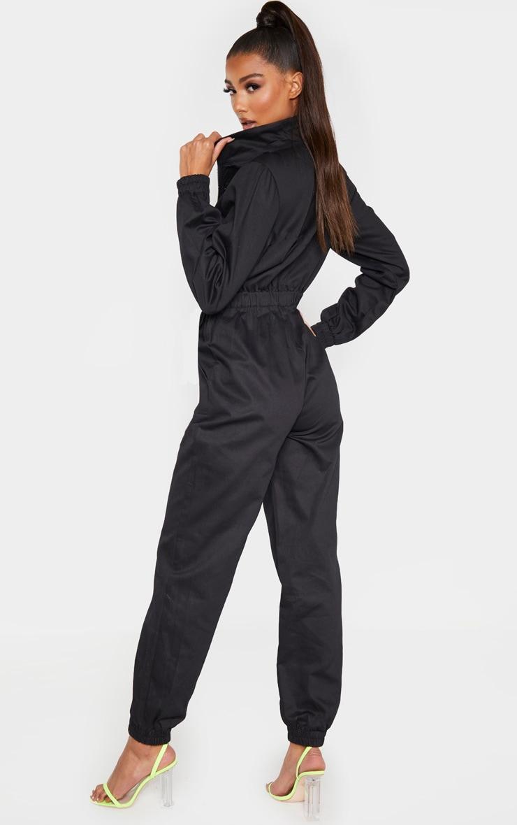 Black Utility Contrast Zip Jumpsuit 2