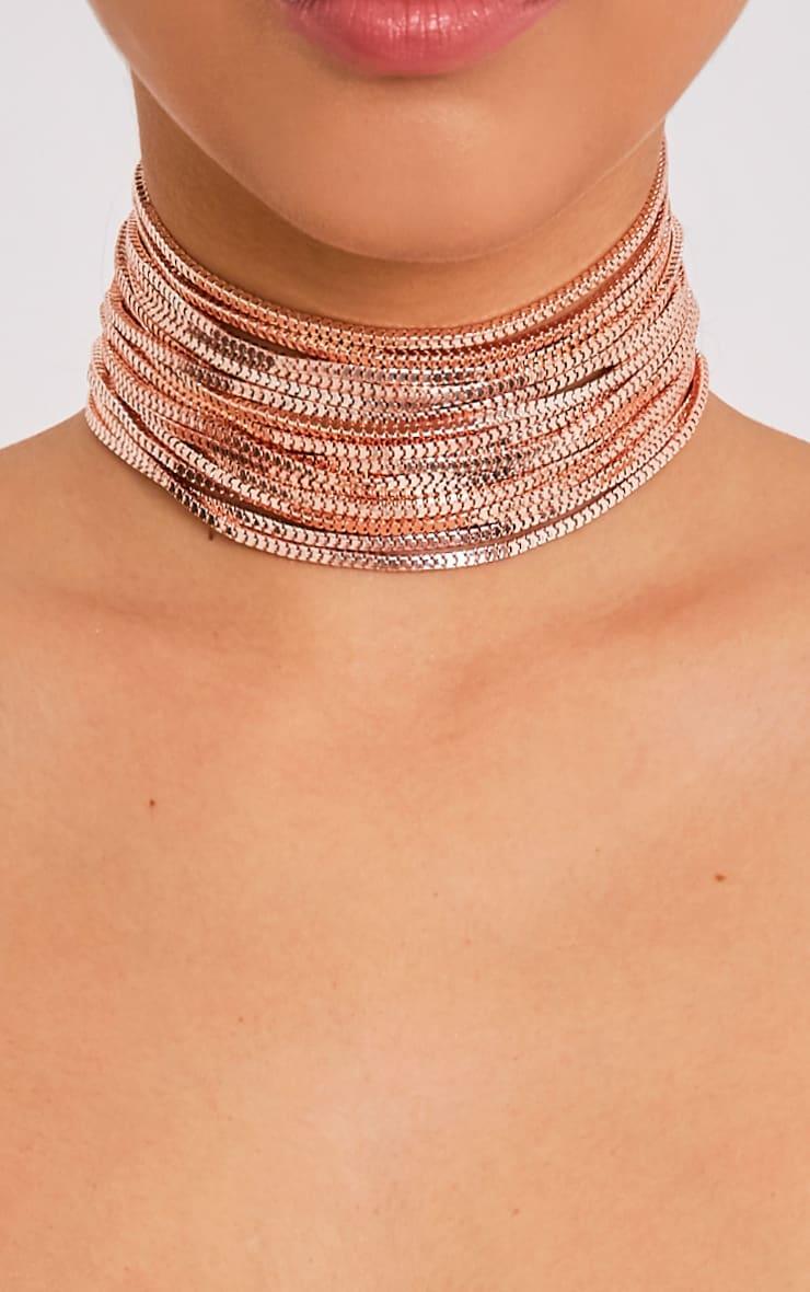 Kiki Rose Gold Multi Row Choker   Jewellery     PrettyLittleThing USA