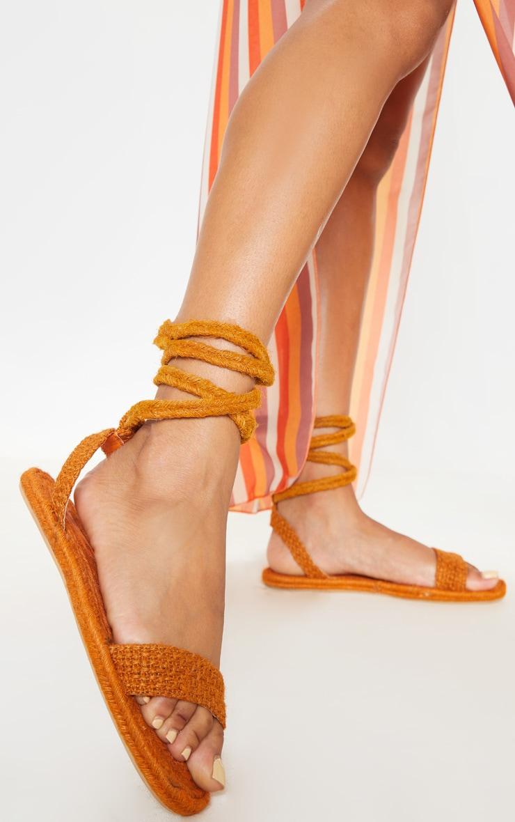 Orange Espadrille Lace Up Sandal  1