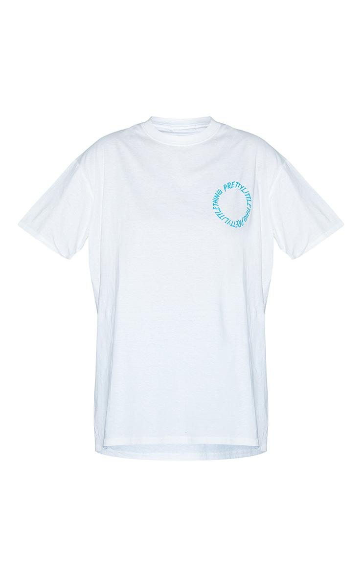 PRETTYLITTLETHING White Circle Back Printed T Shirt 5