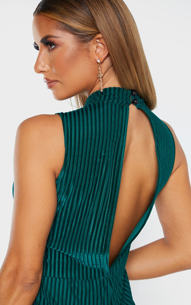Combinaison vert émeraude rayée en velours à col haut 5