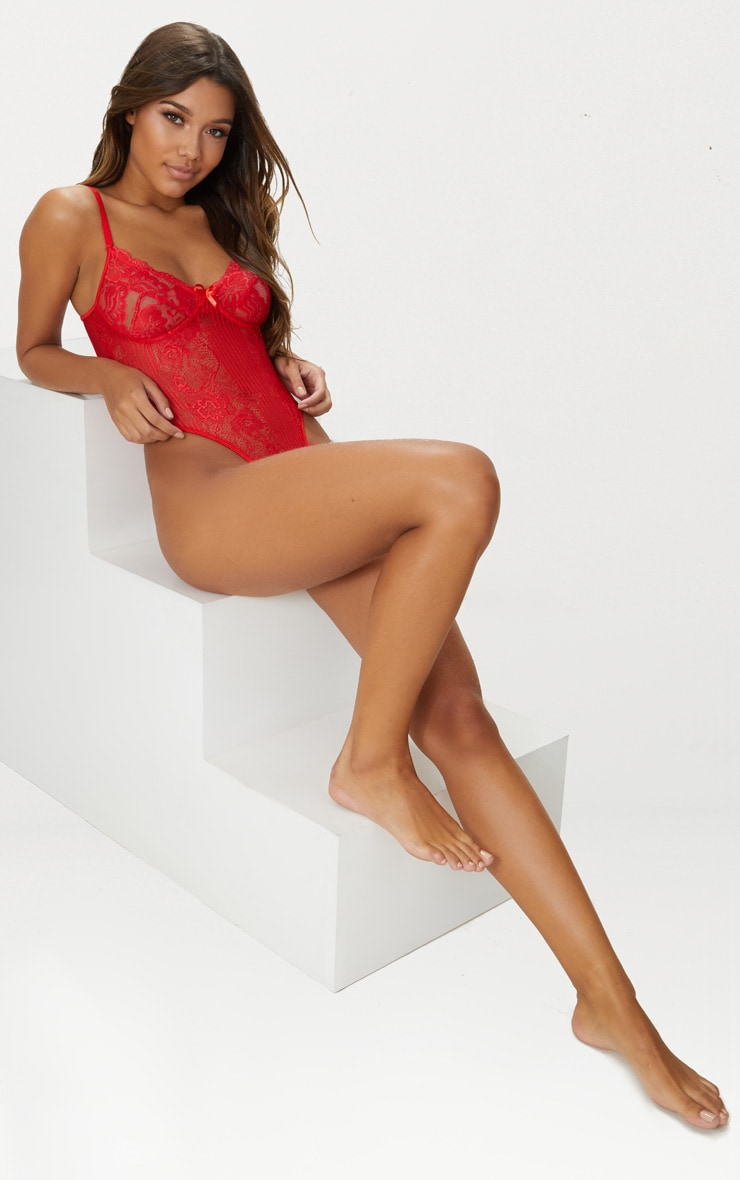 Red Lace Insert High Leg Cupped Body 4