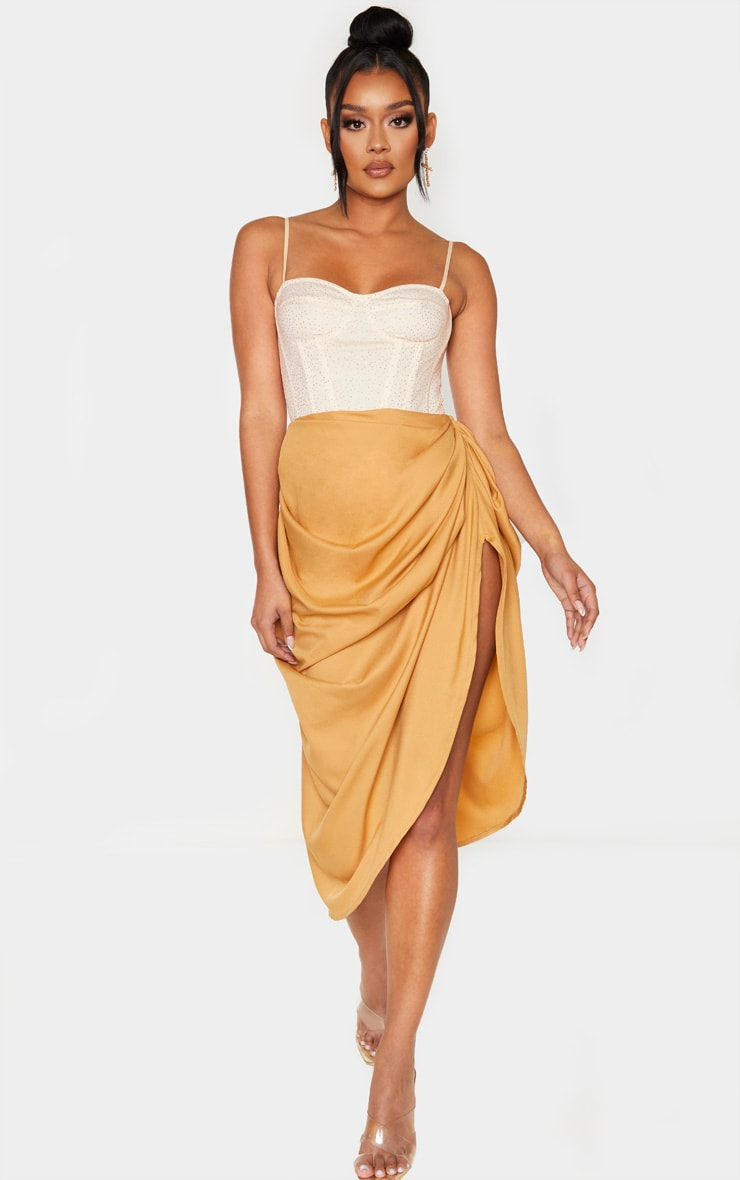 Camel Ruched Side Midi Skirt 1