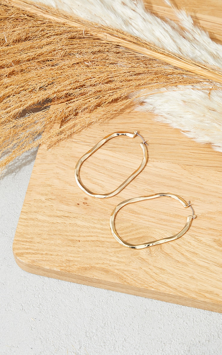 Gold Curved Thin Hoop Earrings 2
