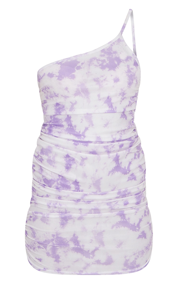 Lilac Tie Dye Ribbed One Shoulder Ruched Bodycon Dress 5