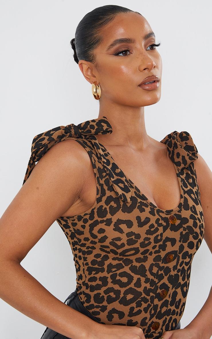 Tan Leopard Print Tie Detail Bodysuit 4