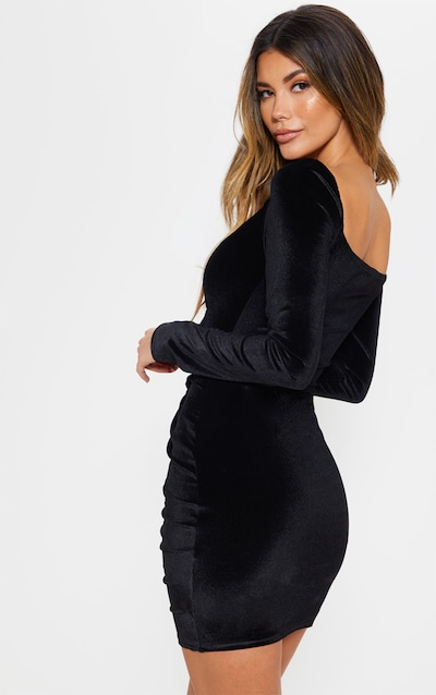 Black Square Neck Ruched Lace Up Velvet Bodycon Dress