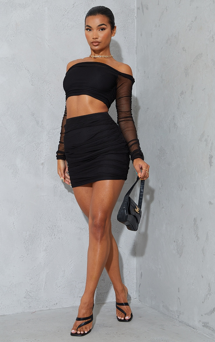 Black Mesh Ruched Side Skirt 1