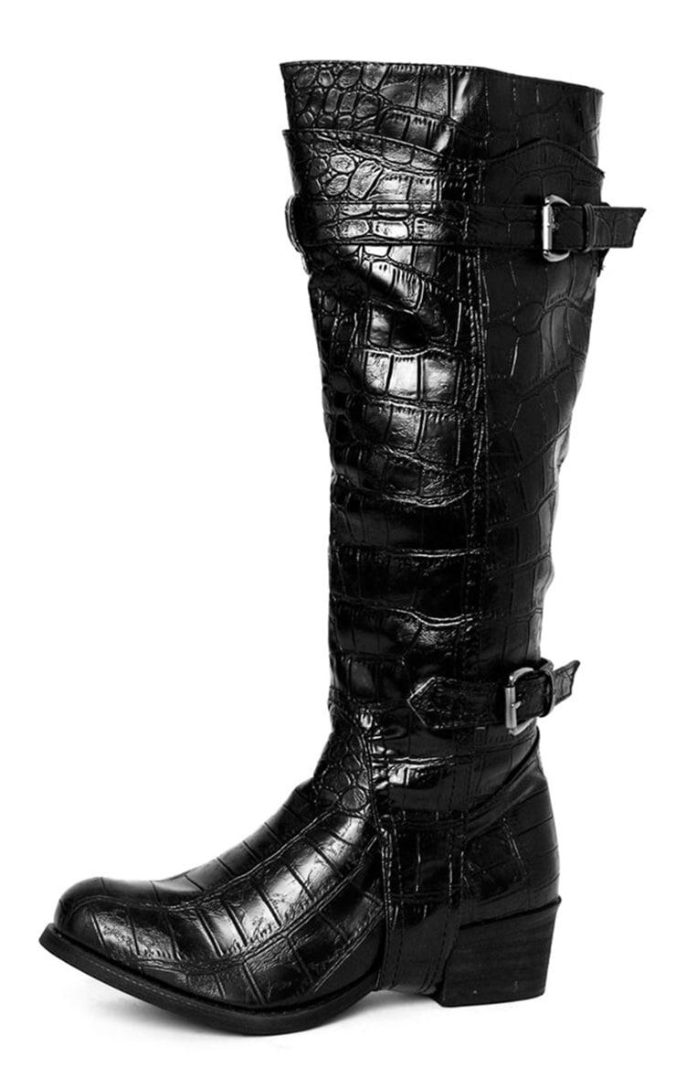 Sheri Black Snake Boot  1