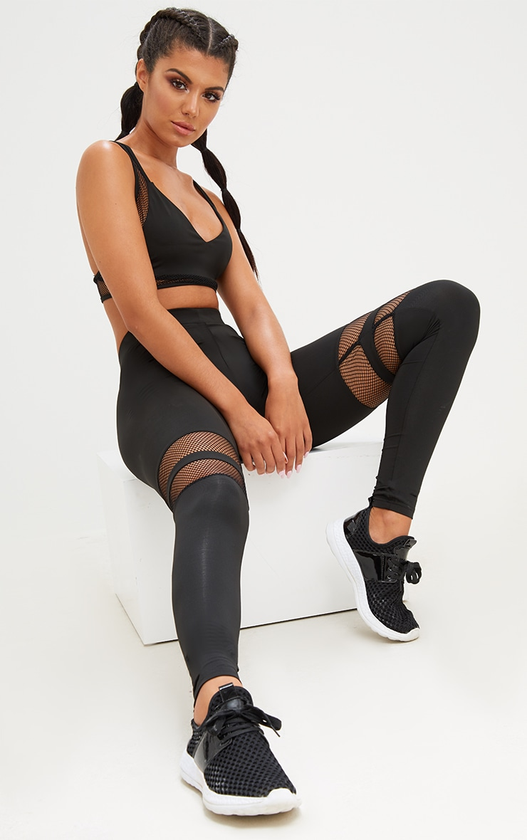 Black Fishnet Panel Leggings 1