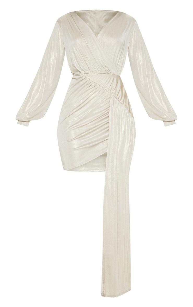 Champagne Metallic Slinky Drape Detail Bodycon Dress 3