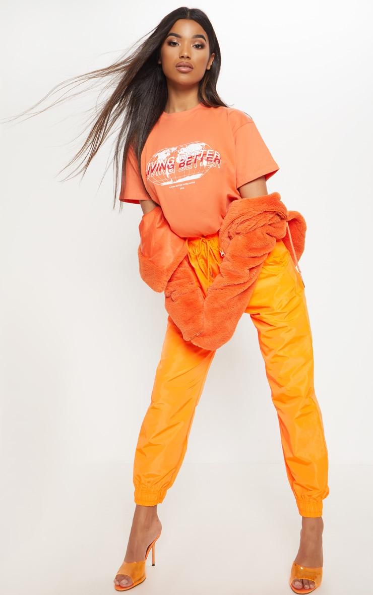 Neon Orange Living Better Print T shirt 4