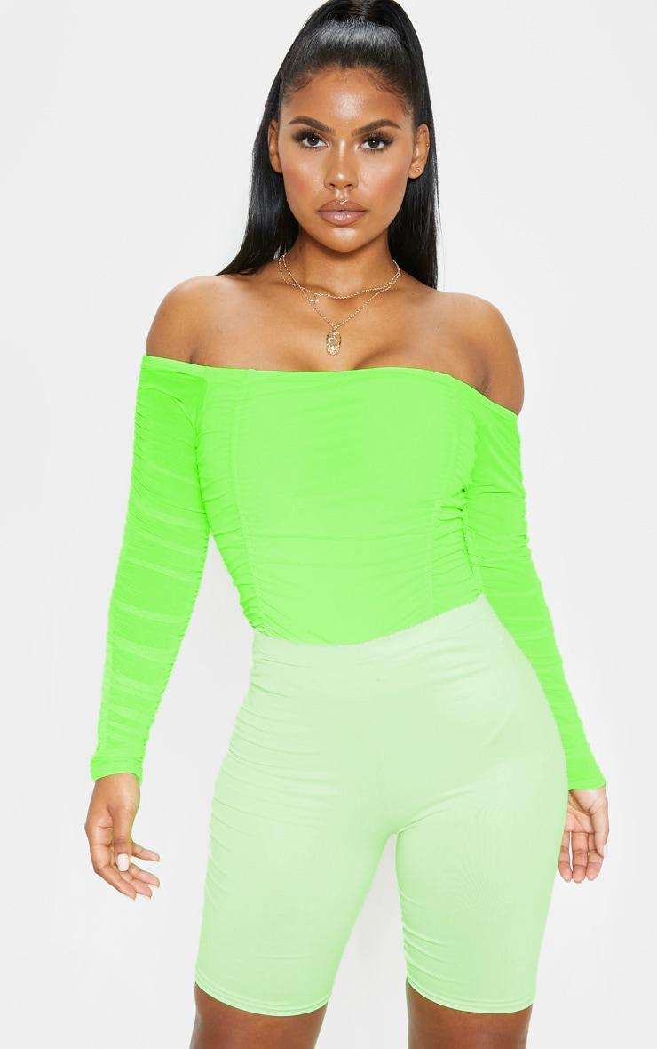 Lime Ruched Mesh Bardot Bodysuit 1