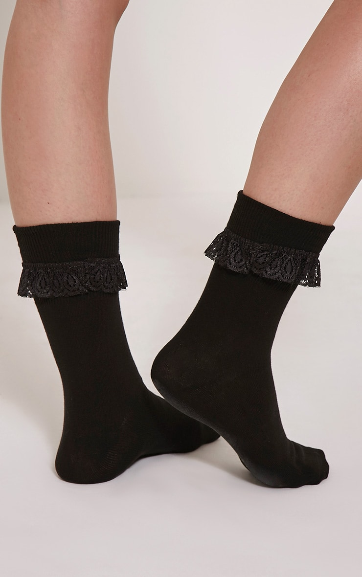 Macy Black Lace Frill Ankle Socks 2