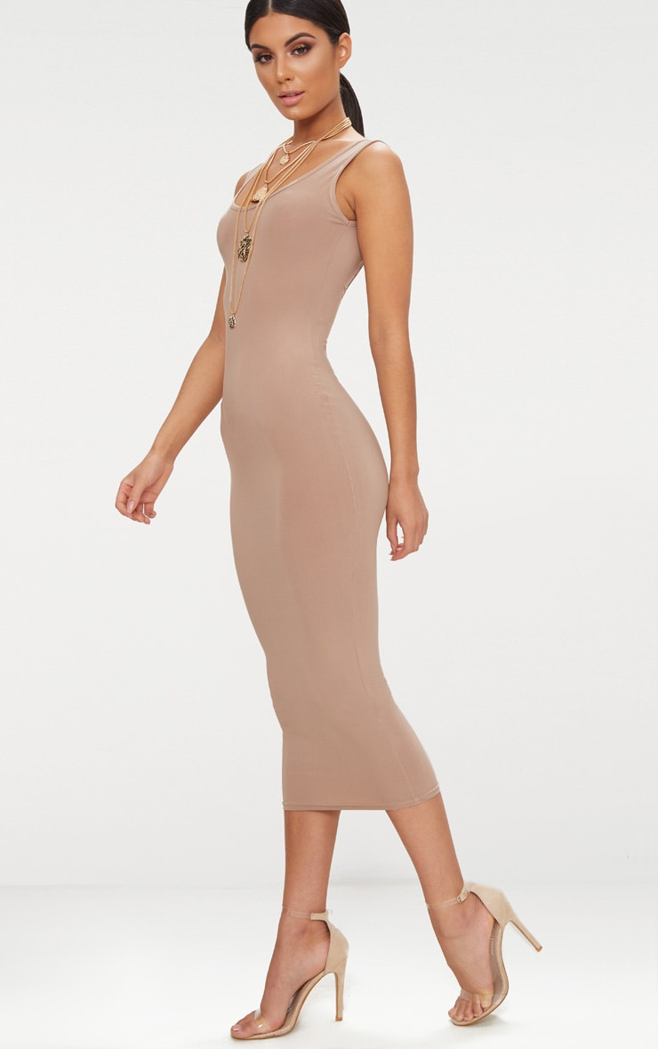 Taupe Scoop Neck Low Back Midaxi Dress 3