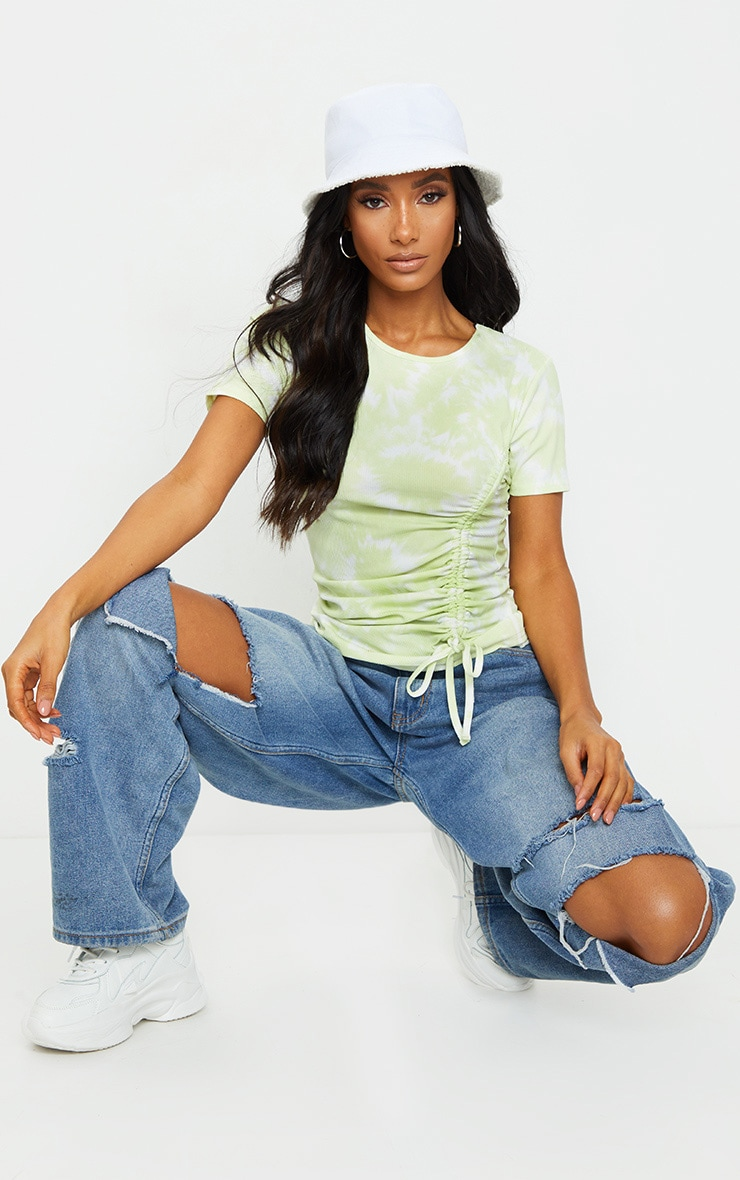 Lime Green Acid Wash Rib Ruched Side T Shirt 1