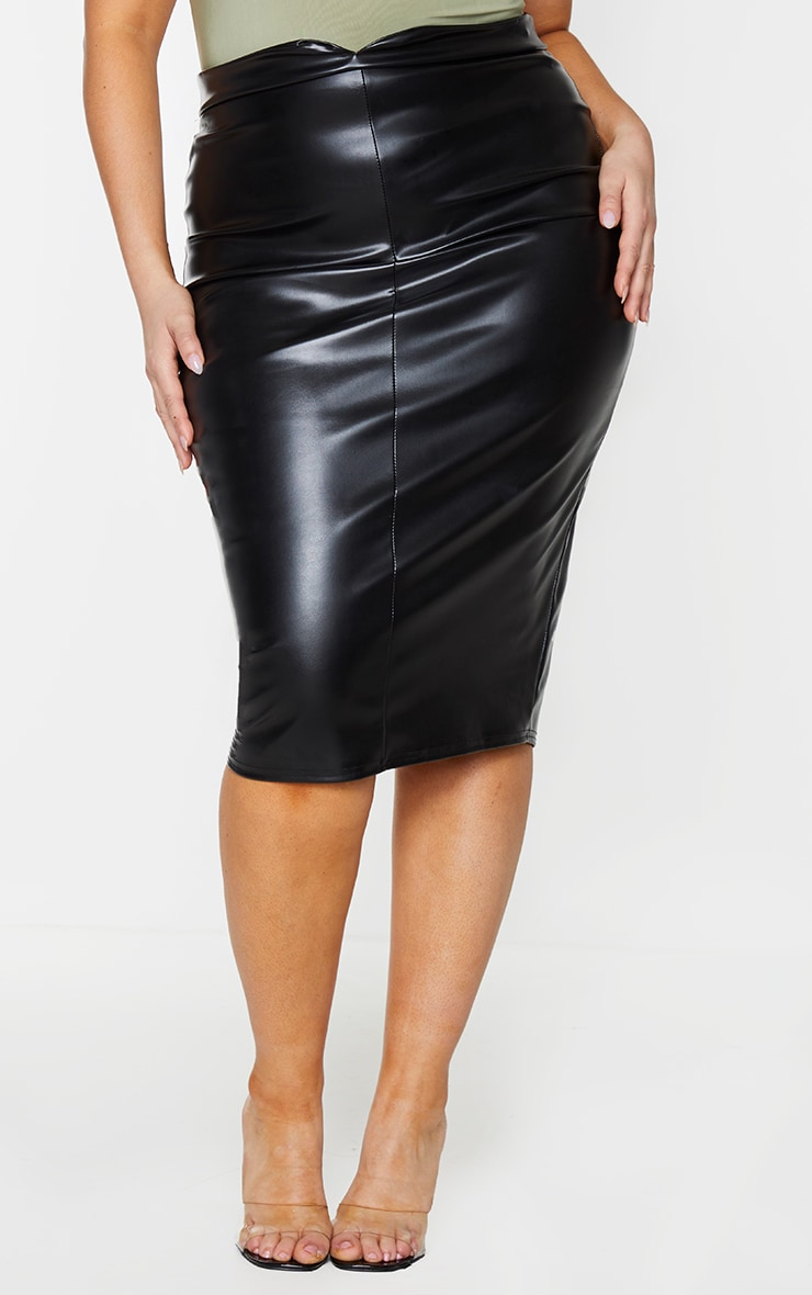 Plus Eva Black Faux Leather Panel Midi Skirt 2