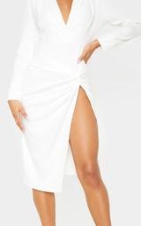 White Knot Detail Blazer Style Midi Dress 5