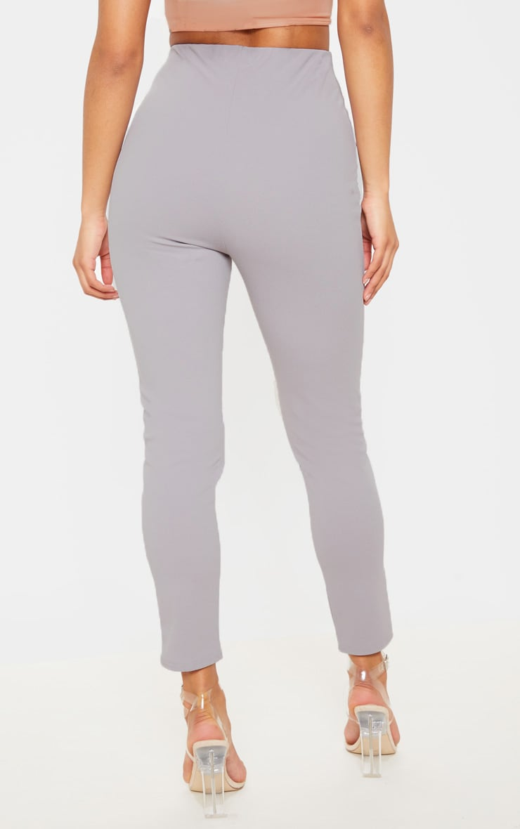 Grey High Waisted Pleated Front Detail Skinny Pants 4