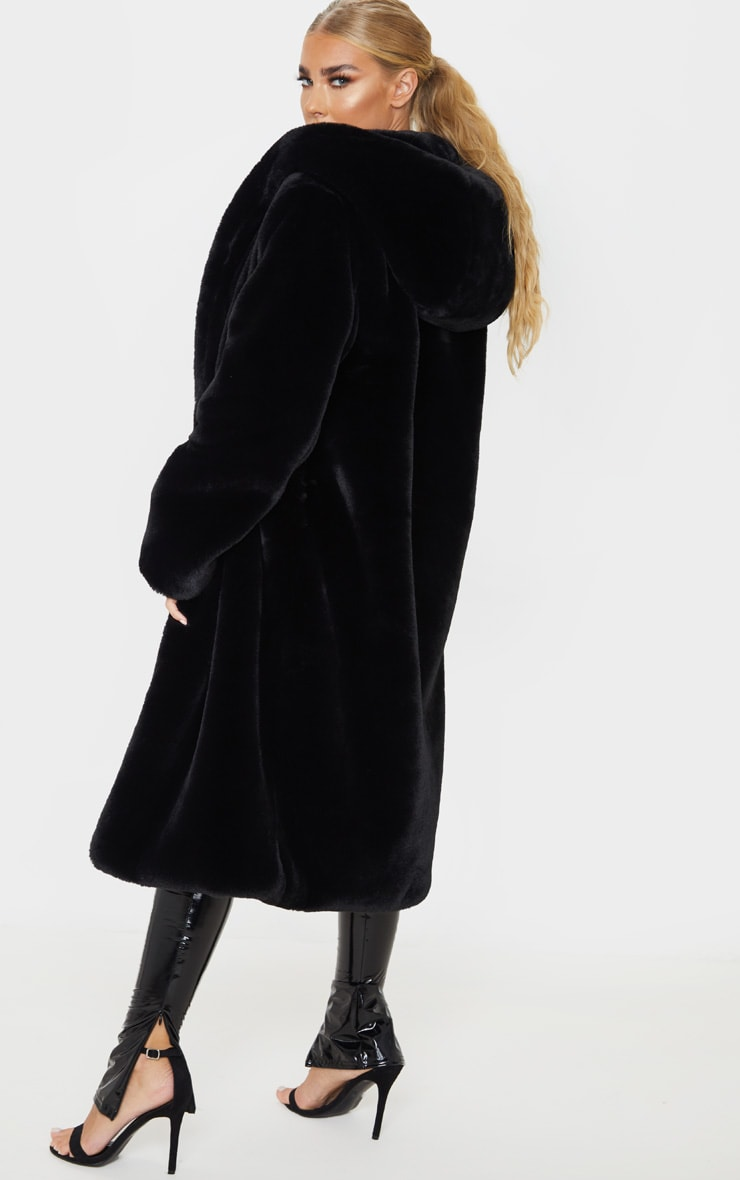 Black Premium Longline Faux Fur Hooded Coat 7