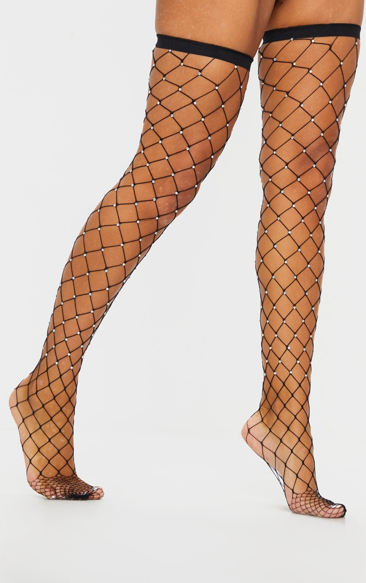 Black Diamante Fishnet Stocking 3