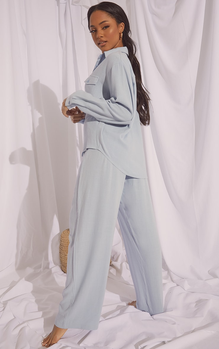 Baby Blue Oversized Long Sleeve Shirt With Pocket And Wide Leg Pants Pj Set 2
